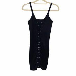 Zara Lace Up Minimalist Mini Little Black Dress S